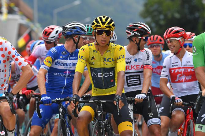 Egan Bernal (Team Ineos) starts stage 20 in the yellow jersey at the Tour de France