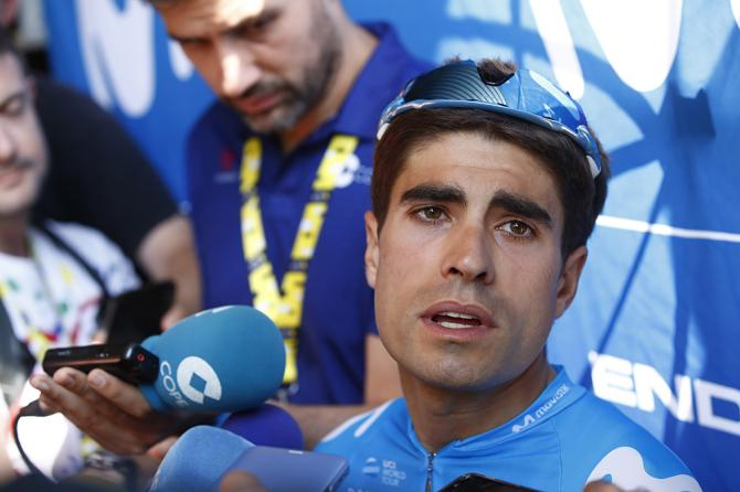 Mikel Landa (Movistar) talks to the press on the second rest day at the Tour de France