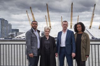 The London Kills cast in front of the O2 Millennium Dome