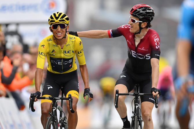 Geraint Thomas (Team Ineos) congratulates Egan Bernal after stage 20 of the Tour de France