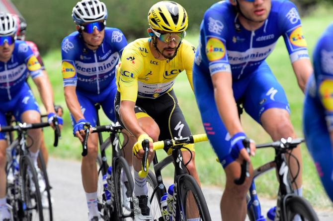 Julian Alaphilippe in yellow during stage 12 at the Tour de France