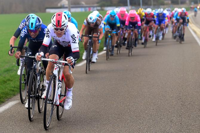 Team Sky's Michal Kwiatkowski leads Egan Bernal in the crosswinds during stage 1 at Paris-Nice