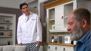 Marlon is shocked in Emmerdale
