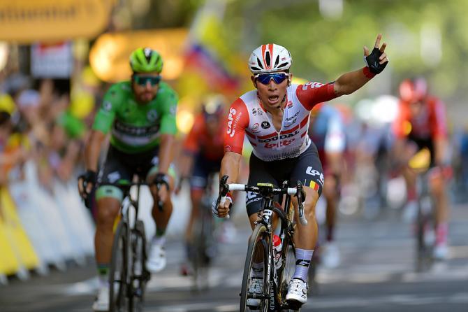 Caleb Ewan (Lotto Soudal) celebrates stage 11 victory at the Tour de France