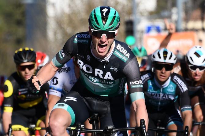 Sam Bennett (Bora-Hansgrohe) celebrates Paris-Nice stage victory.