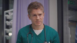 Casualty medic Ethan looking perplexed