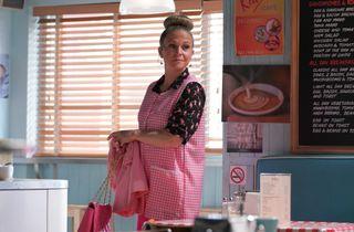 Linda starts work in the launderette in EastEnders