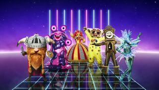 The Masked Singer costumes Viking, Blob, Harlequin, Bushbaby, Grandfather Clock and Seahorse