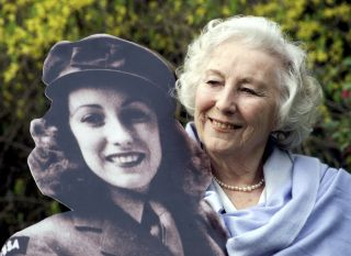 Vera Lynn with a cutout of herself