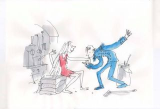 Cinderella on BBC2 Quentin Blake drawing of Prince Charming kissing Cinderella's hand