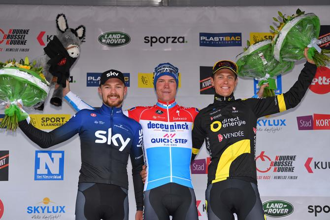 Bob Jungels (Deceuninck-QuickStep) tops the podium at Kuurne-Brussel-Kuurne