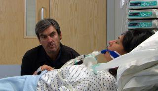 Cain keeps vigil at Moira's bedside in Emmerdale