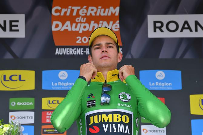 Wout Van Aert (Jumbo-Visma) wins the stage 4 time trial at the Criterium du Dauphine and wears the green points jersey