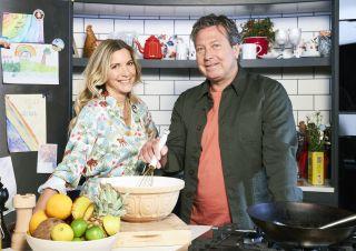 Lisa Faulkner and John Torode in the kitchen