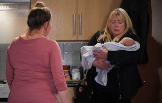 Sharon Mitchell lets Karen look after Kayden in EastEnders.