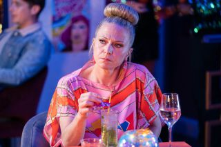 Linda Carter has a mocktail in EastEnders