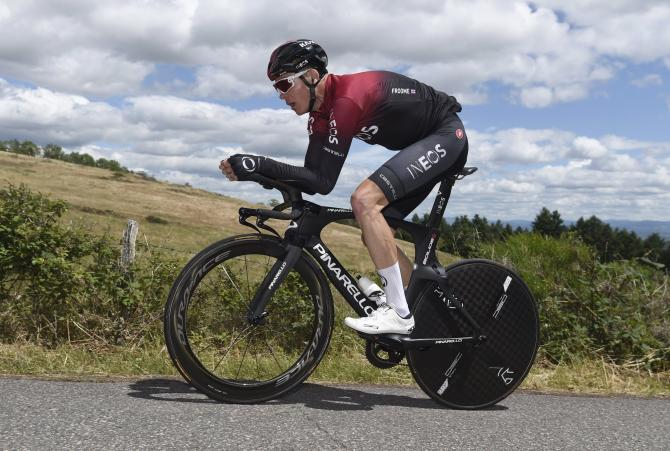Chris Froome training before crashing and fracturing his leg