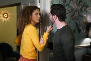 Gray Atkins quizzes Chantelle Atkins about Jags Panesar in EastEnders