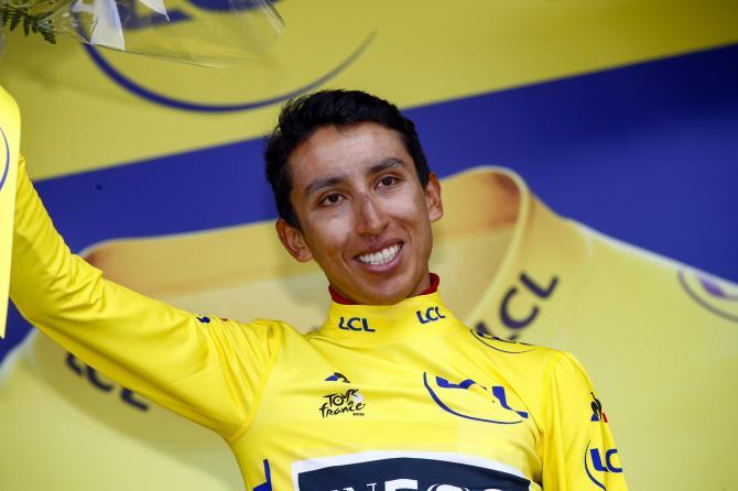 Egan Bernal (Team Ineos) in the Tour de France yellow jersey