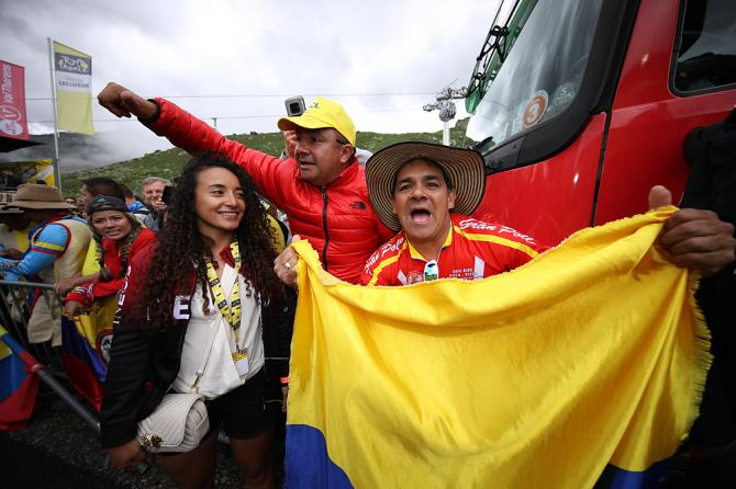 Xiomy Guerrero of Colombia Girlfriend of Egan Bernal of Colombia and Team INEOS Yellow Leader Jersey