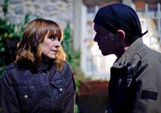 Rhona and Marlon flirt in Emmerdale
