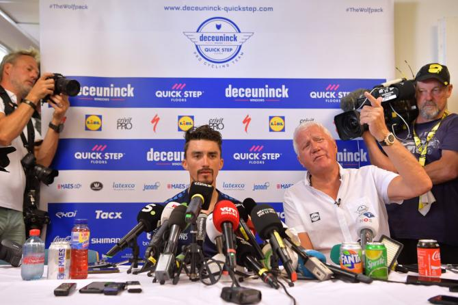 Julian Alaphilippe and Deceunick-QuickStep manager Patrick Lefevere on the second rest day of the Tour de France.