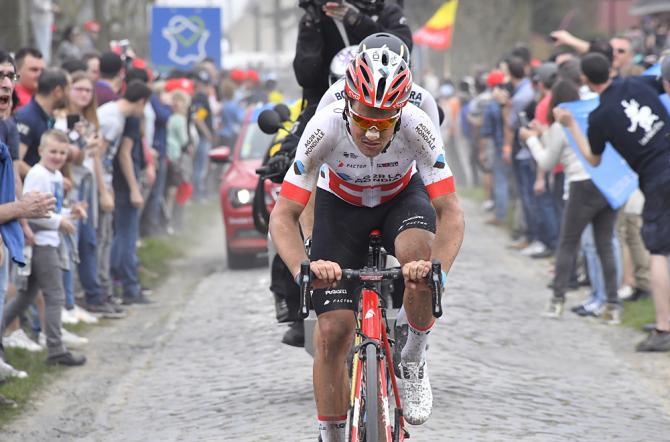 Silvan Dillier (AG2R La Mondiale) leads the breakaway at 2018 Paris-Roubaix
