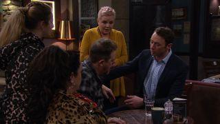 Brenda is blamed for Dan's allergic reaction to vegan cake in Emmerdale