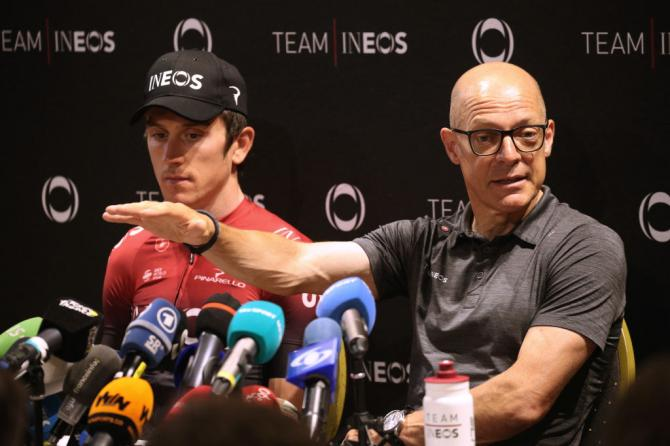 Dave Brailsford and Geraint Thomas at Team Ineos' press conference on the second rest day of the Tour de France.