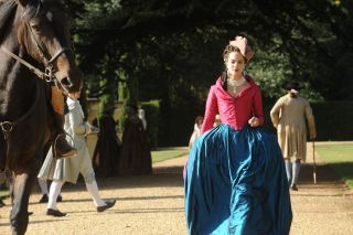 Jessica Brown Findlay as Charlotte in BBC2's Harlots