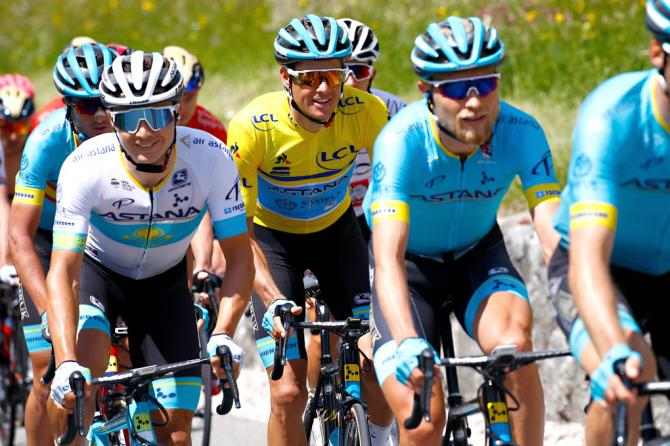 Jakob Fuglsang in the bunch during stage 8 at Dauphine