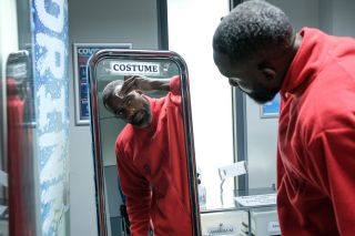 All change at Casualty. Charles Venn doing his own make-up on the set of Casualty