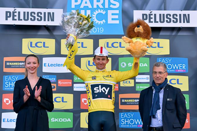 Michal Kwiatkowski in yellow after stage 4 at Paris-Nice
