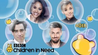 BBC Children In Need hosts Stephen Mangan, Alex Scott, Chris Ramsey and Mel Giedroyc appear in a burst of bubbles