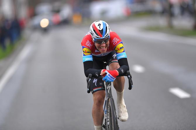 Bob Jungels (Deceuninck-QuickStep) takes a solo victory at Kuurne-Brussel-Kuurne