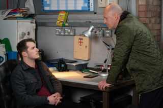 Ben Mitchell is confronted by Danny Hardcastle in EastEnders
