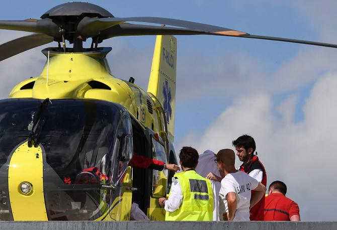 Chris Froome (Team Ineos) was airlifted to hospital after crashing during a recon ride of the stage 4 time trial at the Criterium du Dauphine
