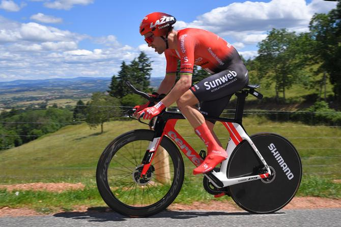 Tom Dumoulin (Team Sunweb) finished third in the stage 4 time trial at the Criterium du Dauphine