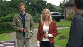 Belle Dingle and Jamie Tate in Emmerdale